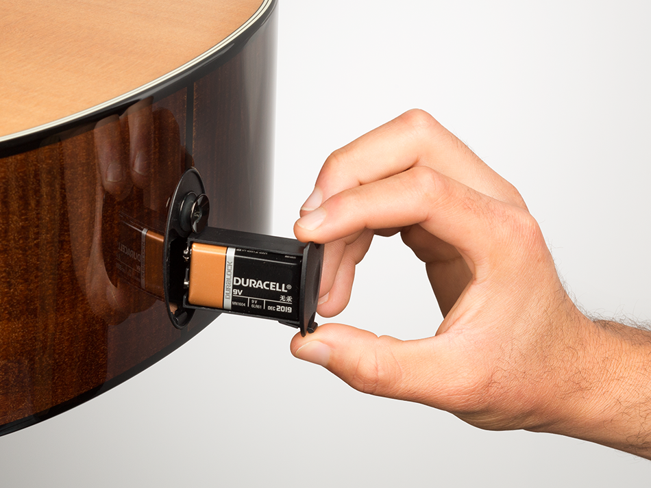 image 1a- remove the battery from the bottom of your guitar