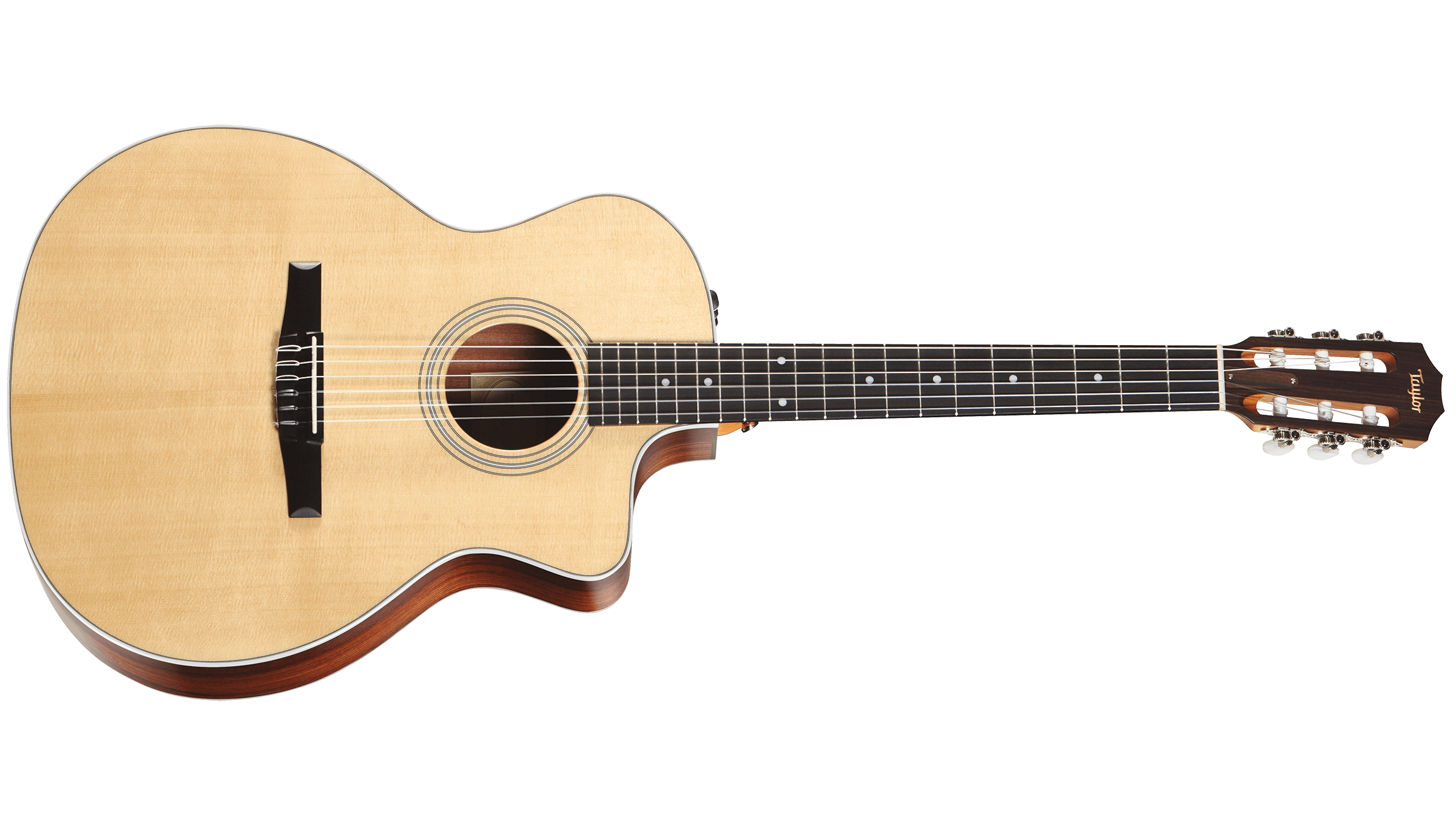 Front picture of the Taylor 214CE-N Left Hand Grand Auditorium Cutaway Acoustic Electric Guitar Nylon String Rosewood B&S Spruce Top with Hard Bag | Canada's most popular Music Store