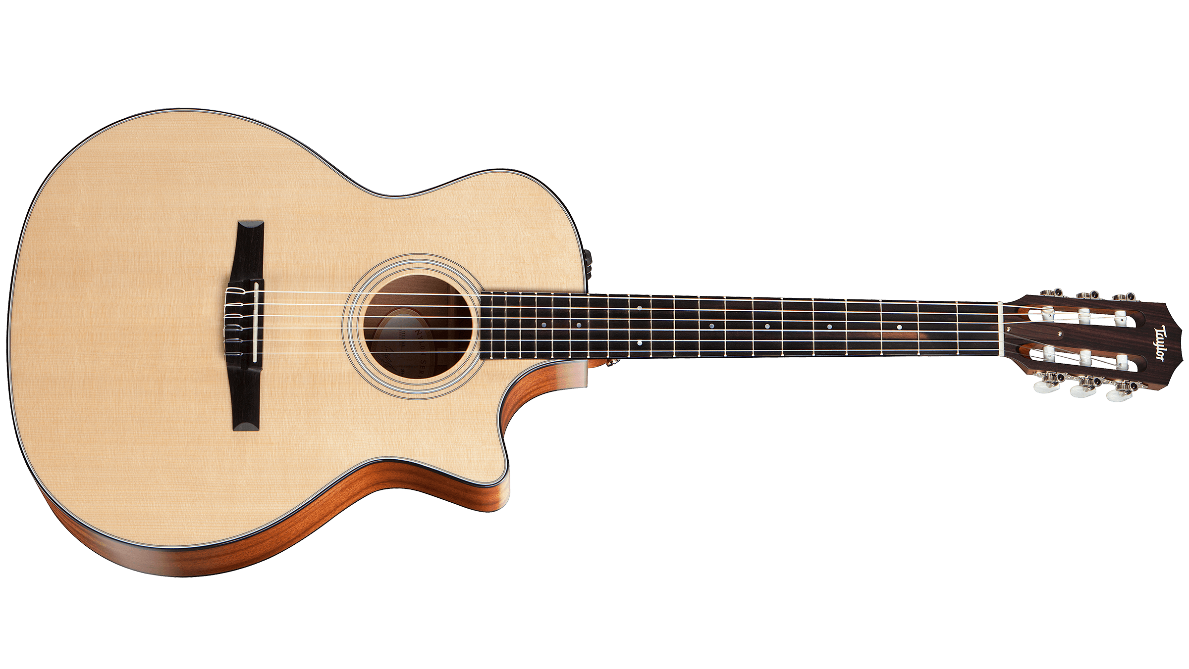 Front Back picture of the Taylor 314CE-N Grand Auditorium Nylon String Cutaway Acoustic Electric Guitar Sapele Spruce | Canada's most popular Music Store