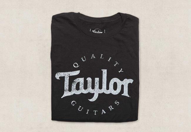 men 39 s distressed logo t shirt taylor guitars. Black Bedroom Furniture Sets. Home Design Ideas